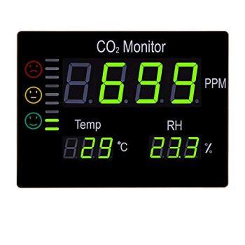 Detecteur Co2 professionnel avec grand display (38 x 28 cm) - Détecteur de dioxyde de carbone, température et humidité. Avec capteur Co2 européen.