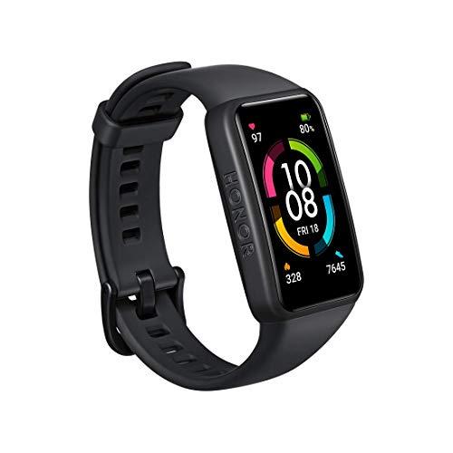 HONOR Band 6 Smartwatch Orologio Fitness Uomo Donna Activity Tracker, SpO2 e Cardiofrequenzimetro da Polso Contapassi, 1.47 AMOLED Touch Screen,di 14 Giorni, 5ATM Smart Watch Versione Globale Nero