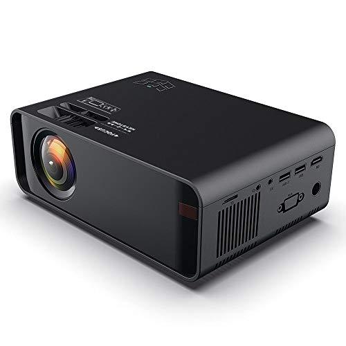 W80 HD Mini Projector WiFi Projector Portable Movie Projector Built-in Speaker Compatible with USB, HDMI, VGA / Headphone Interface,AV,Black (EU)