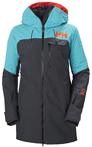 41CSyu2tfjL A longer-length, insulated women's ski jacket with high tech features and a choice of camo or corduroy detailing. For skiers who enjoy the back country, side country, or just deep powder. HELLY TECH PROFESSIONAL: Extremely waterproof and breathable designs and constructions. For highly aerobic, extremely wet or unusually long-lasting activities in extremely harsh conditions. Fully seam sealed. Durable Water Repellency treatment (DWR). FEATURES: 2-layer fabric construction, Fully insulated with 80g LIFALOFT Insulation and brushed stretch panels for added breathability, LIFE POCKET, Hi vis hood brim, ventilation zippers, RECCO Advanced Rescue system, Fusion modular system jacket to pant, Detachable powder skirt, Helmet compatible hood with adjustment, Dual hand warmer pockets and one chest pocket with goggle shammy, Wrist gaiters with thumb hole