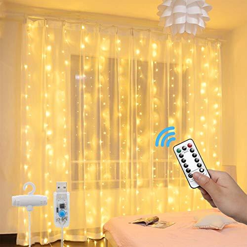 Luci per Tende a LED - 3x3m 300 LED Catene Luminose con Telecomando 8 Modalit Impermeabile LED Tenda Luminosa, Lucine Decorative per Esterno/Interni Camera da Letto Natale (Bianco Caldo)