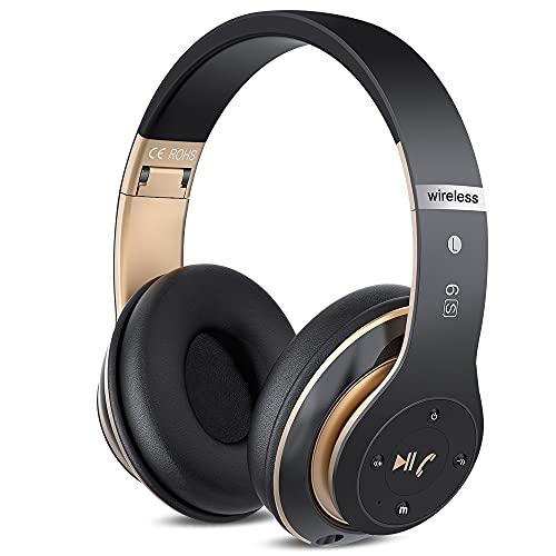 6S Casque Bluetooth sans Fil, écouteurs stéréo sans Fil stéréo Pliables Hi-FI Écouteurs avec Microphone intégré, Micro SD/TF, FM pour iPhone/Samsung/iPad/PC (Or Noir)