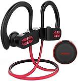 Mpow Flame Bluetooth Headphones W/Case, BT5.0 IPX7 Waterproof Wireless Earphones Sport W/Richer Bass,8H Playtime,Wireless Headphones W/CVC6.0 Noise Cancellation Mic, Running Headphones,Red
