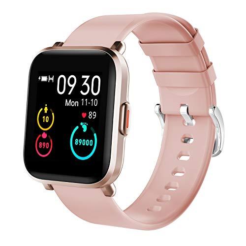 Kungix Smatwatch Orologio Fitness Donna Uomo impermeabile 5ATM Activity Tracker con Delle Contapassi Cronometro Messaggi Controller Cardiofrequenzimetro Orologio Sportivo per Android iOS (Pink)