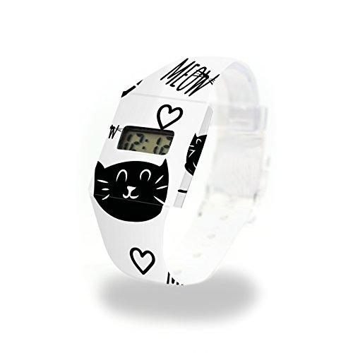 MEOW - Pappwatch - Paperwatch - Digitale Armbanduhr im trendigen Design - aus absolut reissfestem und wasserabweisenden Tyvek® - Made in Germany , absolut reißfest und wasserabweisend