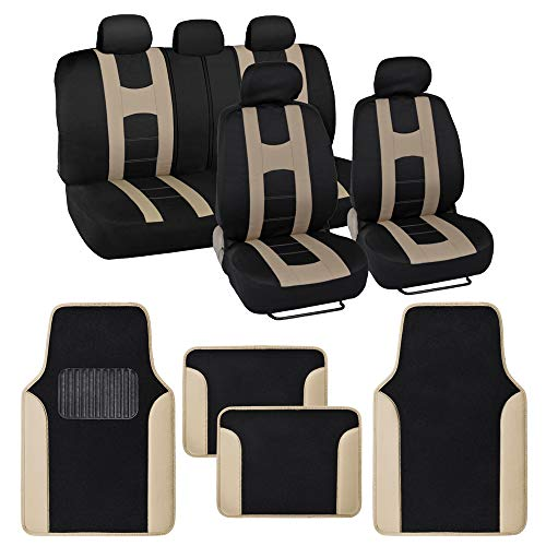BDK Rome Sport Beige Car Seat Covers Full Set Combo with Floor Mats – Front and Rear Seat Cover & Floor Mat Set, Stylish Protection with Two-Tone Color Accents, Universal Fit for Car Truck Van SUV