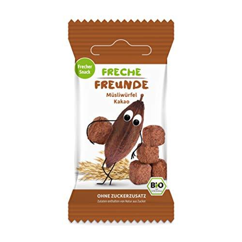 FRECHE FREUNDE Bio Müsliwürfel Kakao, Müsli Snack ohne Zuckerzusatz für Kinder, Fingerfood, vegan, 9er Pack (9 x 20 g)