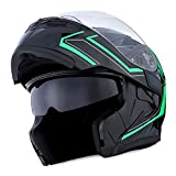 1Storm Motorcycle Modular Full Face Helmet Flip up Dual Visor Sun Shield: HB89 Arrow Green