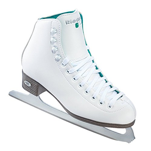 Riedell Skates - 110 Opal - Recreational Ice Skates with Stainless Steel Spiral Blade | White | Size 5