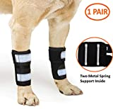 NeoAlly Pair of Dog Canine Front Leg Brace with Metal Strips Support, Dual Metal Spring Inserts to Stabilize Dog Front Leg for Wrist Carpal, Prevents Leg Injuries & Sprains
