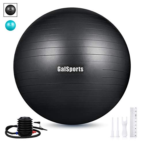GalSports Exercise Ball (45cm-75cm), Anti-Burst Yoga Ball Chair with Quick Pump, Stability Fitness Ball for Birthing & Core Strength Training & Physical Therapy (Black, L (58-65cm))