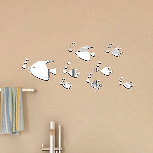 Pegatina baño pared vinilo decorativo acrilico efecto espejo peces plateados para cuartos de baño WC mamparas spa de CHIPYHOME