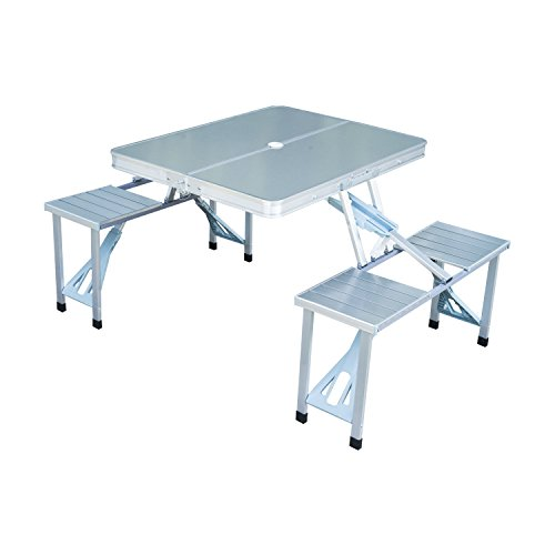 Outsunny Portable Folding Camping Picnic Table and Chairs Stools Set Party Field Kitchen Outdoor Garden BBQ Aluminum