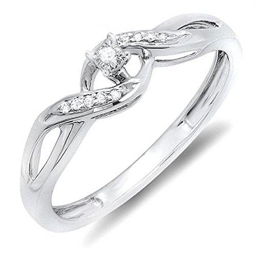 Anillo de compromiso, remolino de crossover para dama, diamante redondo de plata esterlina de 0,06 ct (ctw)