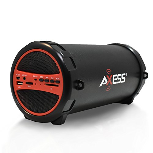 AXESS SPBT1031 Portable Bluetooth Indoor/Outdoor 2.1 Hi-Fi Cylinder Loud Speaker with Built-In 3' Sub and SD Card, USB, AUX Inputs in Red