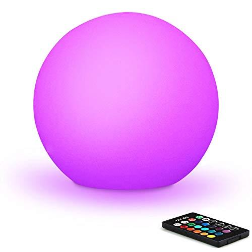 Mr.Go 30cm Wasserdicht Außen Kugelleuchte LED Kugellampe mit Fernbedienung, RGB Farbwechsel Leuchtkugel Garten Kugel, 16 RGB Farben, Dimmbar Nachtlicht für Zuhause und Dekorieren