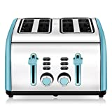 Toaster 4 Slice, CUSINAID 4 Wide Slots Stainless Steel Toasters with Reheat Defrost Cancel Function, 7-Shade Setting, Blue