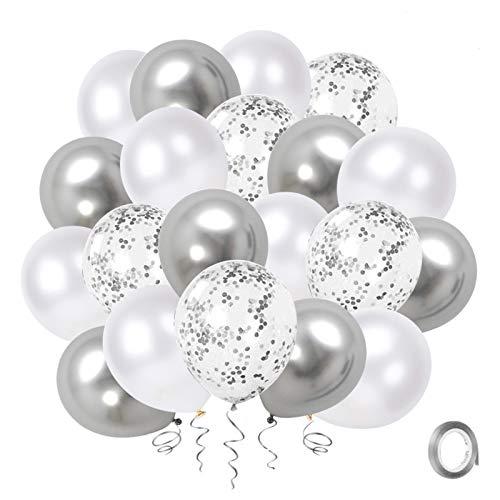 Palloncini Bianco Coriandoli Argento, Confezione da 50 pollici Palloncino per Feste in Metallo Cromato Argento da 12 pollici con Nastro d'Argento per Decorazioni per la Doccia di Compleanno