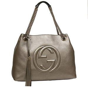 Gucci Soho Interlocking GG Golden Metallic Beige Chain Shoulder Handbag 308982 9524 20
