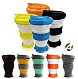 AVALEISURE 16oz Collapsible Travel Cup - Big, Foldable Silicone Mug with Leak-Proof Lid for Coffee, Water, Tea - Portable Camping, Hiking Mugs (Set of 2 Lime+Orange)