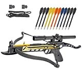 Crossbow Self-Cocking 80 LBS by KingsArchery with Hunting Scope, Spare Crossbow String and Caps, 3 Aluminium Arrow Bolts, and Bonus 12-pack of Colored PVC Arrow Bolts + KingsArchery Warranty