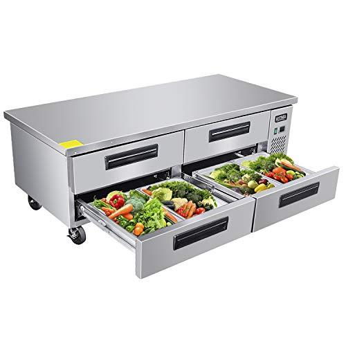 Commercial 4 Drawer Refrigerated Chef Base - KITMA 72 Inches Stainless Steel Chef Base Work Table Refrigerator, 33 °F - 38°F 1