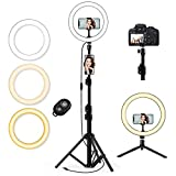 QI-EU 10.2' Selfie Ring Light with Tripod Stand & Cell Phone Holder for Live Stream/Makeup, Mini Led...