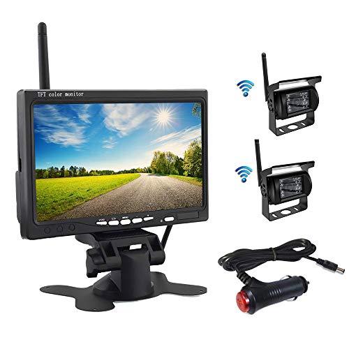 OiLiehu Kit Telecamera Per Retromarcia Wireless,Monitor LCD HD da 7' Con Antenna,2 X Telecamera Per Retromarcia Wireless,IP67,Versione Notturna,12-24 V,Adatto Per Autobus,SUV,Camion,Rimorchi