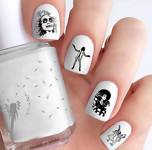 Beetlejuice Style Nail Decals (Clear Water-Slide)