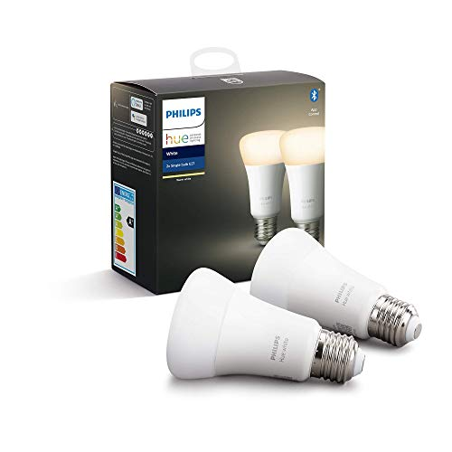 Philips Hue Pack de 2 Bombillas LED Inteligentes E27, con Bluetooth,...