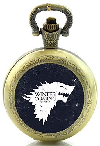 Juego de Tronos Winter Is Coming Reloj de Bolsillo de Cuarzo, diseño de Bronce Antiguo, Incluye Caja de Regalo y Pila de Repuesto