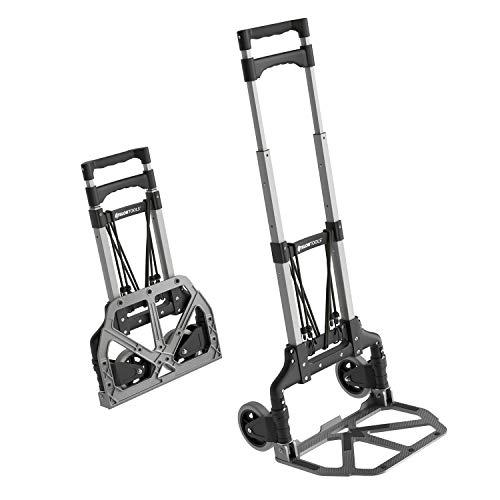 ATHLON TOOLS Aluminium Transportkarre klappbar | Ladefläche mit Anti-Rutsch-Pads |Leichtgängige Räder mit Soft-Laufflächen |inkl. 2 Expanderseilen |Farbe: schwarz + alu