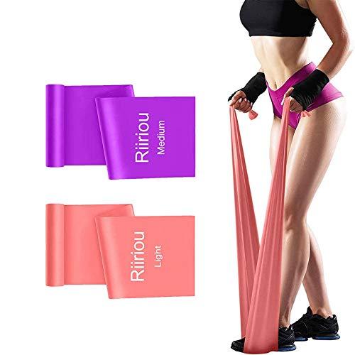 Elastici Fitness Bande, 2 m Fasce Elastiche Resistenza Fitness Bande Fisioterapia Fascia Elastica Esercizi Ideale per Yoga, Pilates, Allenamento di Forza e Flessibilit, Stretching (pink_purple)