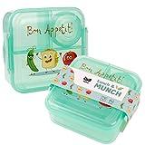 OLWO® Lunchbox-Bentobox für Kinder und Erwachsenen, Brotdose für Kindergarten und Schule mit Unterteilung Veggie Friends, Lunchbox Kinder (Grün)