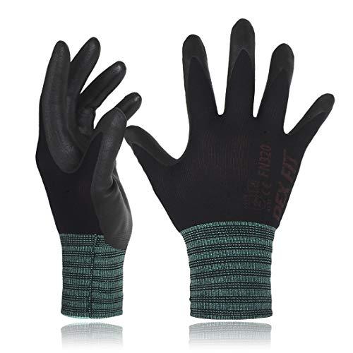 DEX FIT FN320 Guanti da Giardinaggio in Nylon Nero, Comfort Stretchy Fit 3D, Power Grip, Gomma...