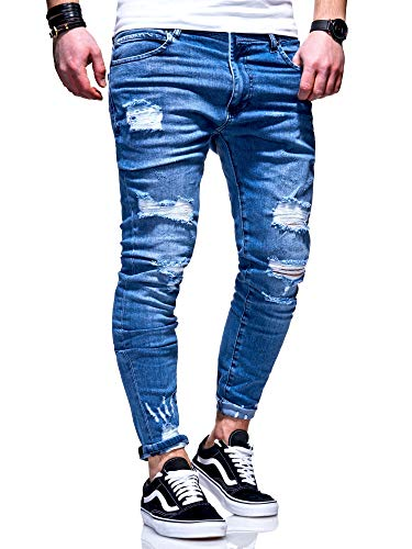 behype. Herren Destroyed Stretch Jeans-Hose Used 80-6376 Blau W34/L32