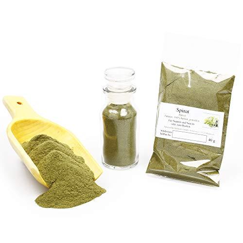 Spinatpulver, natürliche Lebensmittelfarbe grün zum Kochen & Färben, Superfood Smoothie Pulver, Smoothie vegan, Backzutaten laktosefrei, 40g