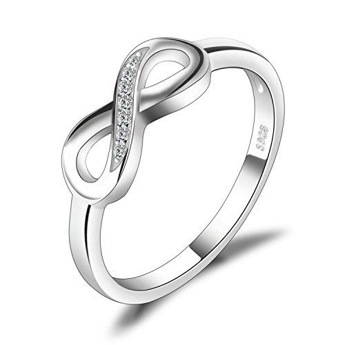 JewelryPalace Anillo infinito Amor Eterno de Circonia Cúbica Aniversario Promesa de Plata de ley 925 Tamaño 19