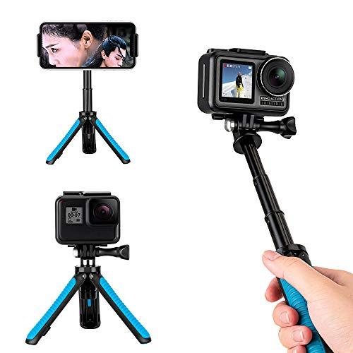 TELESIN Mini Treppiede per GoPro/Osmo Action/SJCAM/AKASO, Impugnatura a Mano Prolunga Allungabile Monopiede Tripod Selfie Stick