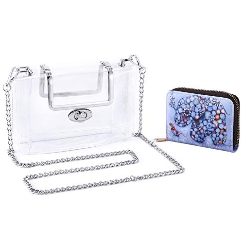 """41D0qOmIHtL 【NFL Stadium Approved】simple and generous design that absolutely attracts anyone's eyeballs.See-through purse is vinyl material & size 7.3x5.3x2.7 inch, which is perfect for weekend, wedding, evening party, prom, also meets sporting events PGA,NCAA,NFL ,etc,make it easier for fans to gain access to all stadiums 【Removable & Long Chain】Golden Removable chain strap is 47.2"""", can be used as handbag, tote bag, shoulder bag or crossbody bag 【Material】 This clear crossbody bag is made of 1mm thick vinyl, which is more durable than those bags made of 0.4mm material in the market, it's thick enough to hold its shapeHigh quality transparent vinyl, absolutely unique design, cute&stylish,transparent purse can match all kinds of clothes."""