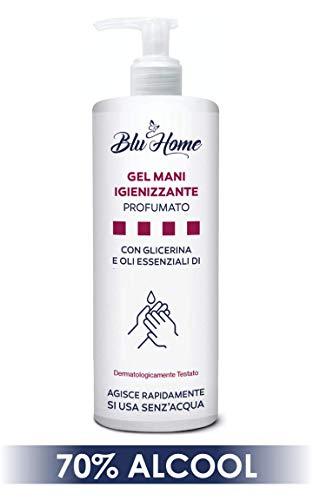 BLU HOME Gel Mani Igienizzante 500 ml con Dispenser, si usa senz'acqua, con Oli Essenziali di Tea Tree, Limone e aggiunta di Glicerina Naturale (500 ml - 2 pezzi)
