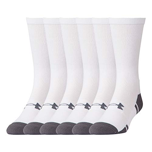 Under Armour Adult Resistor 3.0 Crew Socks, 6 Pairs, White/Graphite, Shoe Size: Mens 4-8, Womens 6-9
