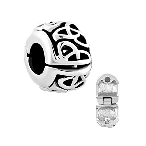 ReisJewelry Irish Celtic Knot Clip Lock Charm Spacer Charm Beads For Bracelet (Style1)