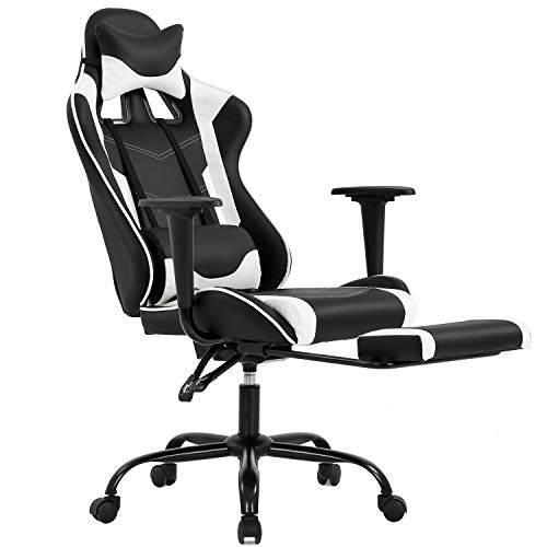 Gaming Chair with Footrest, Ergonomic Office Chair, Adjustable Swivel Leather Desk Chair, Reclining High Back Computer Chair with Lumbar Support and Headrest, Racing Style Video Gamer Chair