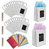 24 Sacs Cadeaux Blancs à Personnaliser avec Papier de Soie de Purple Ladybug Novelty | Pochettes 19x24x12 cm | Emballage Kraft pour Paquets Cadeaux Originaux | Pour Offrir aux Anniversaires et Autres