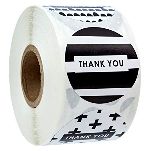 1.5' Black and White Patterned Thank You Stickers / 8 Different Design Thank You Designs/ 500 Thank You Stickers Per Roll