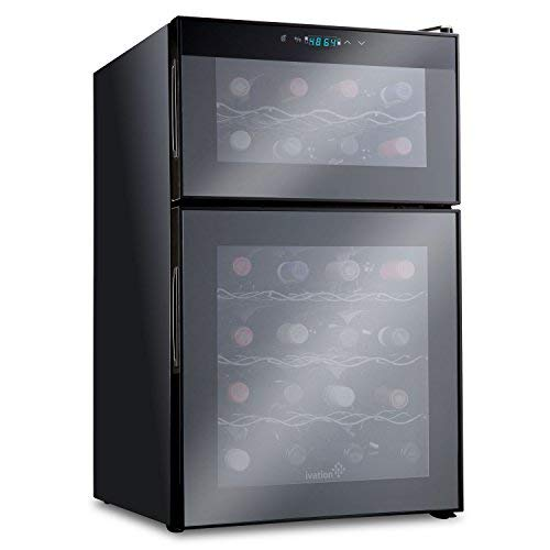 Ivation 24 Bottle Dual Zone Thermoelectric Red & White Wine Cooler/Chiller Counter Top Wine Cellar with Digital Temperature Display, Freestanding Refrigerator Quiet Operation Fridge