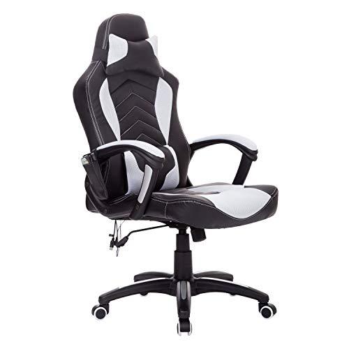 HOMCOM Bürostuhl Massagesessel Gaming Stuhl Wärmefunktion 6 Vibrationspunkte PU weiß 68 x 69 x 108-117cm