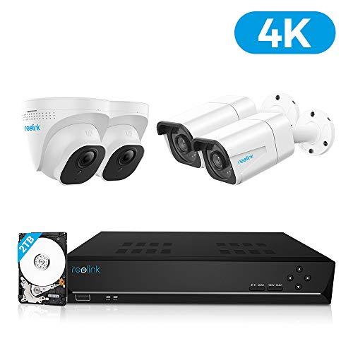 Reolink 4K Ultra HD Kit Videosorveglianza IP Poe, 8CH Poe NVR con 4X 8MP Telecamera Esterno Impermeabile Poe, Sistema di Sorveglianza con HDD da 2TB, Registrazione 24/7, RLK8-800B2D2