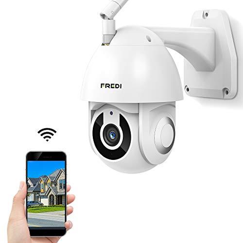 FREDI Telecamera IP esterna telecamera di sorveglianza con IR Vision notturna, IP65, impermeabile, sicurezza wireless, telecamera HD 1080p, audio bidirezionale, rilevamento di movimento